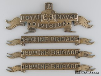 WWI 63rd (Royal Naval) Division and Three Infantry Brigade Brass Plaques