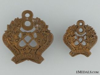 WWI 8th Mounted Rifle Battalion Cap Badge and Collar Badge