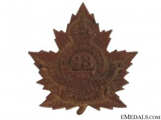 """WWI 93rd Infantry Battalion """"Peterborough Battalion"""" Cap Badge"""