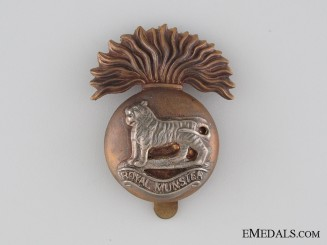 WWI British Royal Munster Fusilier Cap Badge