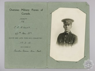WWI Memorial Photograph of Private Charles E. Hislop; 88th CEF