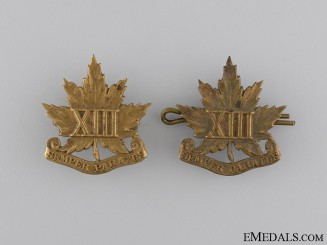 WWI Period 13th Regiment Collar Tab Pair; c. 1909