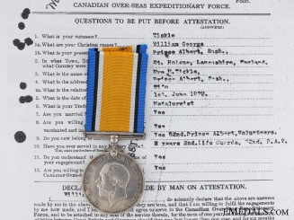 WWI War Medal to Company Quartermaster Sergeant; 188th Batt.