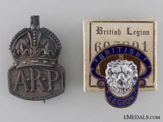 WWII Air Raid Precautionary (ARP) Service and British Legion Badges