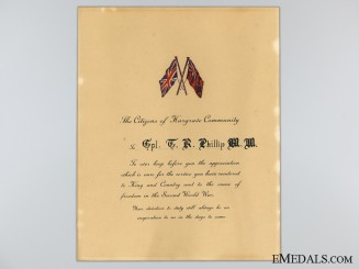 WWII Manitoba Community Appreciation Document to WWI MM Recipient