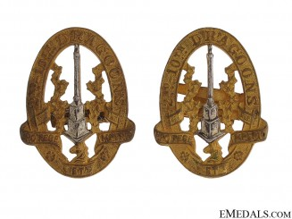 WWII Second Tenth Draggons Officer Collar Badges