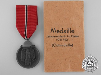 A German East Medal with Packet of Issue by Julius Maurer Oberstein