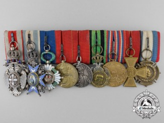 A First War Serbian Officer's Medal Bar of Nine