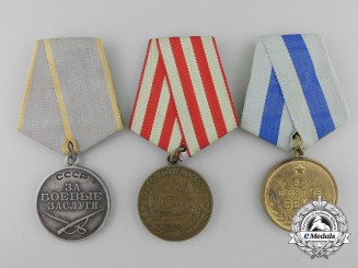 Three Soviet Russian Medals & Awards
