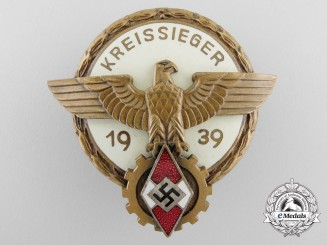 Germany, HJ. A Victors Badge in the National Trade Competition II model, Kreissiegers Badge 1939