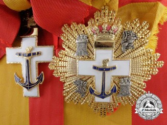 A Spanish Naval Merit Order; 4. model (1875-1925) Grand Cross Set
