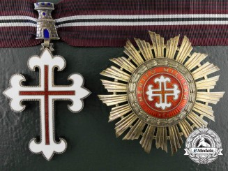 A Portuguese Order of Military Merit; Grand Officer Set with Case