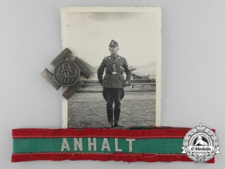 Germany, RAD. An Anhalt Labor Commemorative Badge with Cufftitle & Recipients Photo