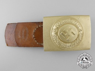 An Enlisted Water/Traffic Police Buckle with Leather Tab by Assmann