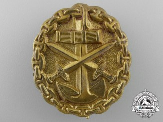 A Kriegsmarine (Navy) Wound Badge; Gold Grade