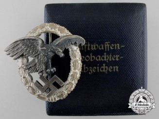 An Early Cased Luftwaffe Observers Badge by Assmann