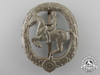 A Silver Grade German Horseman's Badge by L. CHR. LAUER NÜRNBERG-BERLIN