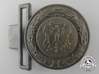 An East Prussia Fire Defence Service Officer's Belt Buckle; Published Example