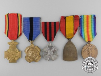 Five First War Belgian Medals, Awards, & Decorations
