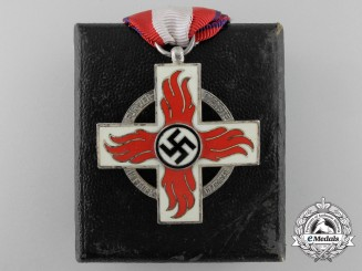 A German Fire Brigade Cross with Case; 2nd Class