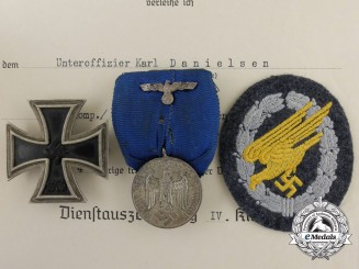 A Group of Awards & Documents to Hauptmann Karl Danielsen, 11. Fallschirmjäger Regt. 5