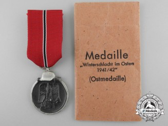 A Mint Second War German East Medal 1941/42 with Packet of Issue