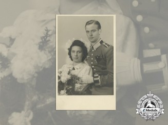 A Wartime Studio Wedding Photo of an NCO with Sudetenland Medal & Prague Bar