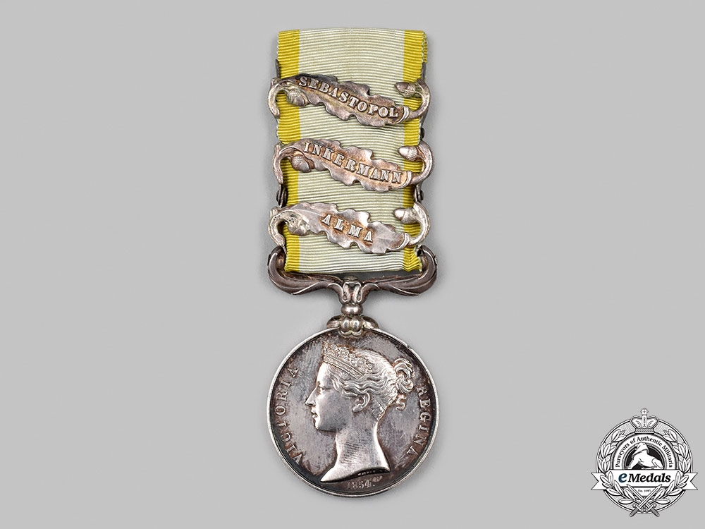 United Kingdom. A Crimean War Medal with Three Clasps to Pte. P. Boyle, 50th Regiment