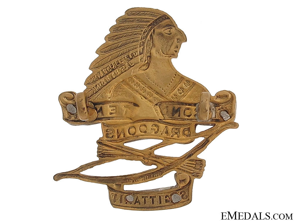 WWII Second Tenth Draggons Officer Cap Badge