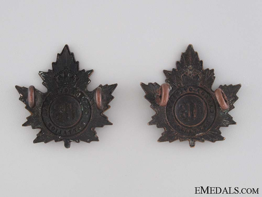 WWI 116th Infantry Battalion Collar Tab Pair CEF