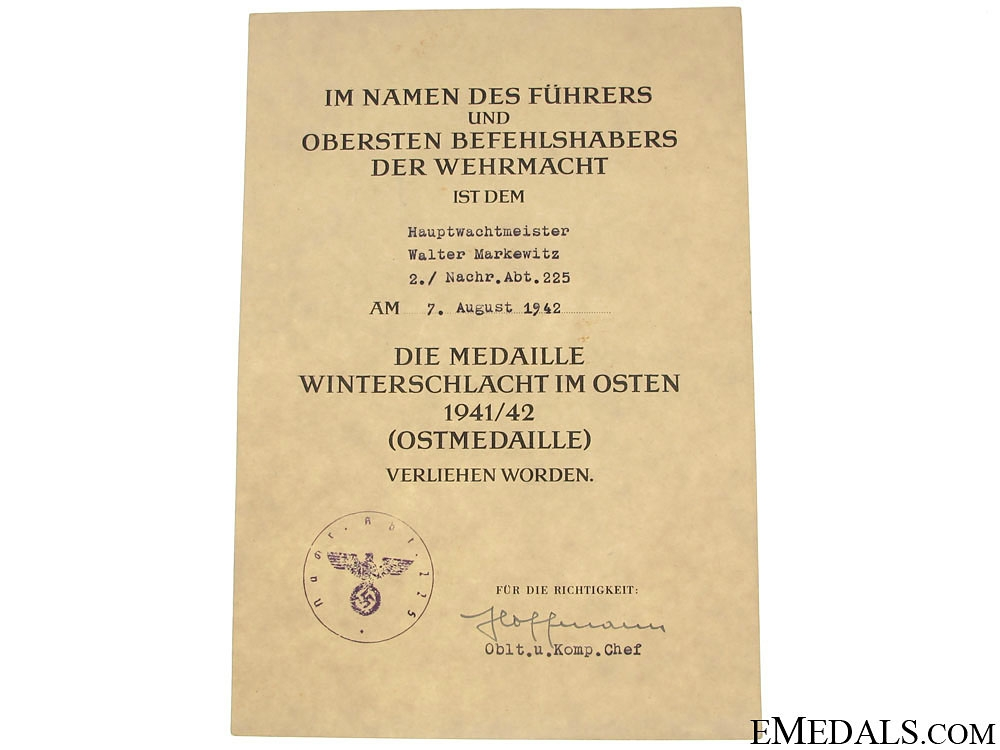 Documents to Hauptwachtmeister Walter Markewitz