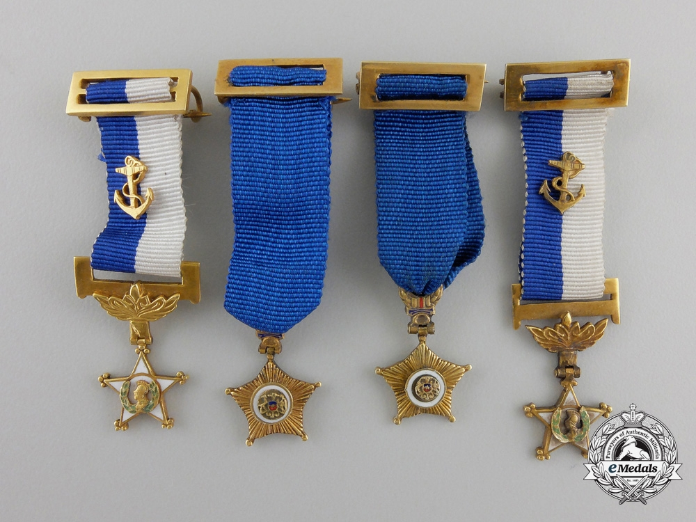 Four Gold Miniature Awards from the Estate of General Pinochet