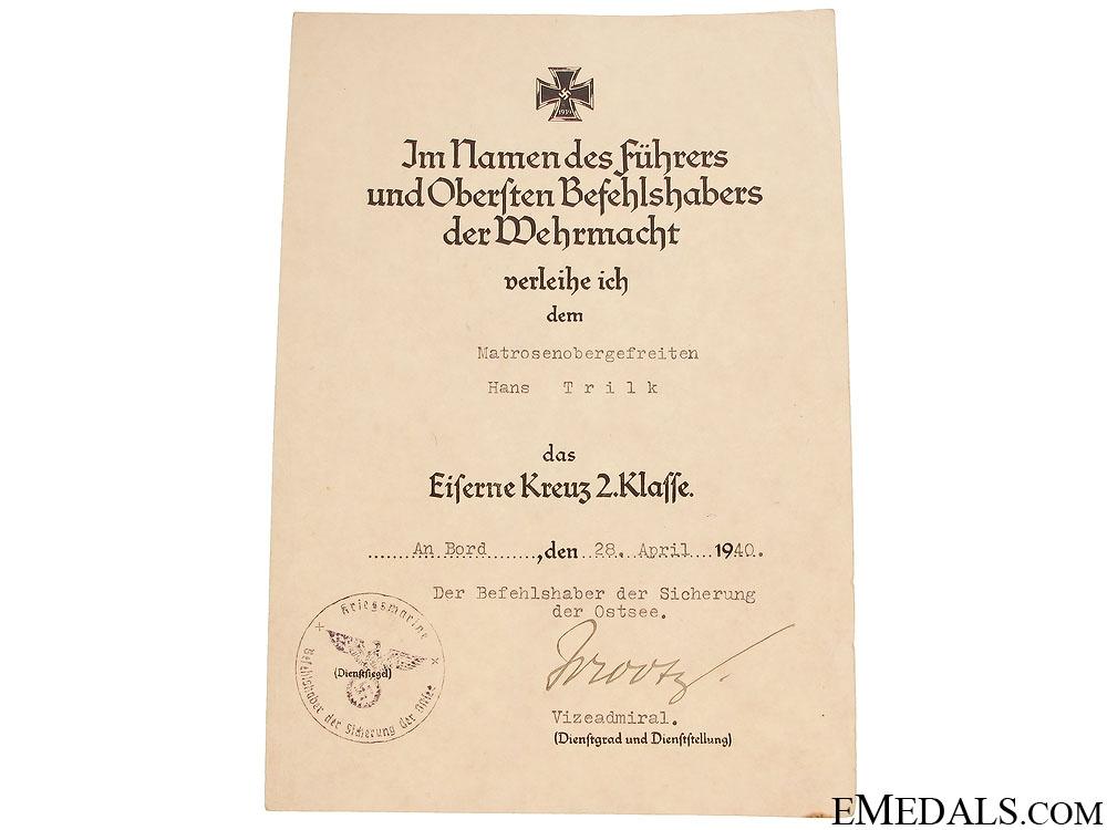 Rare Kriegsmarine Destroyer Award Document