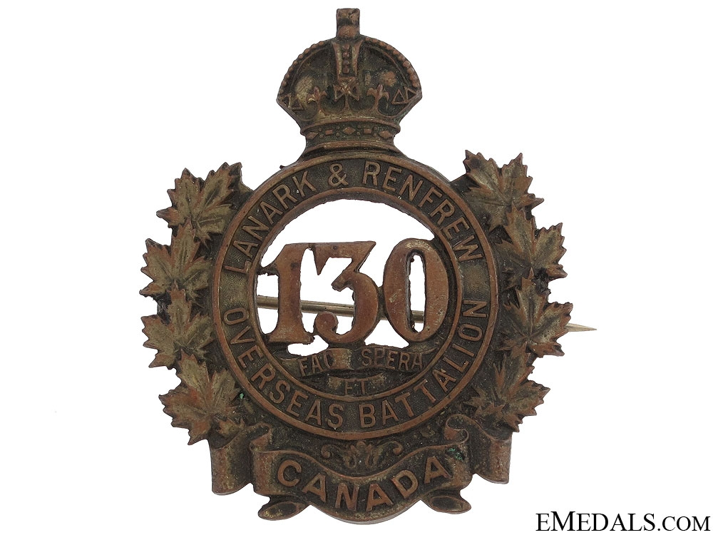 130th Overseas Battalion Cap Badge CEF