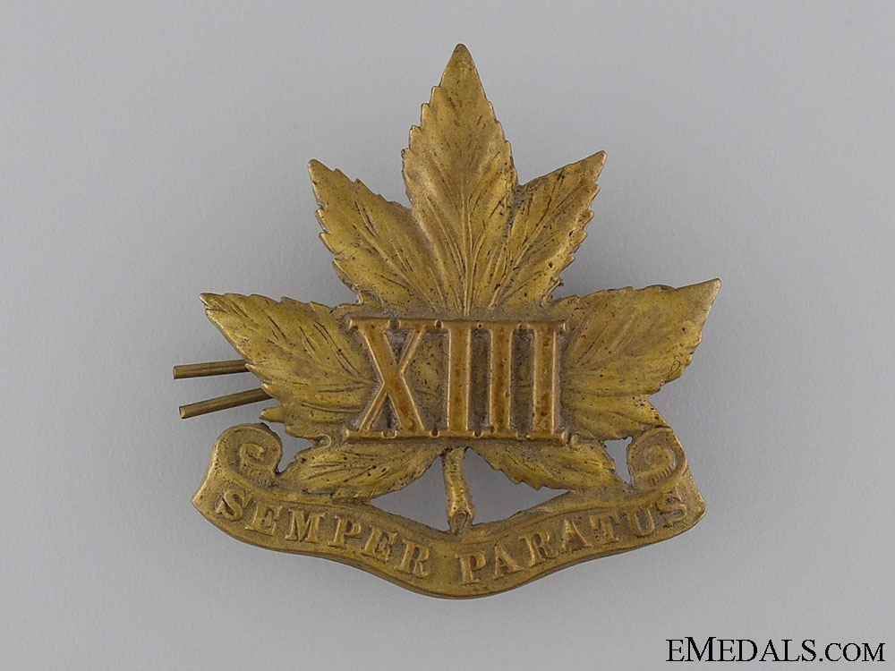 13th Regiment Glengarry Cap Badge; c. 1909