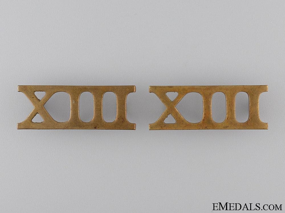 13th Regiment Shoulder Title Pair; c. 1909