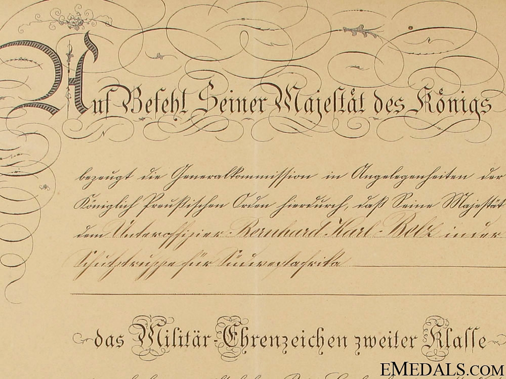 Prussian Award Doc. for Colonial Schutztruppe SW Africa