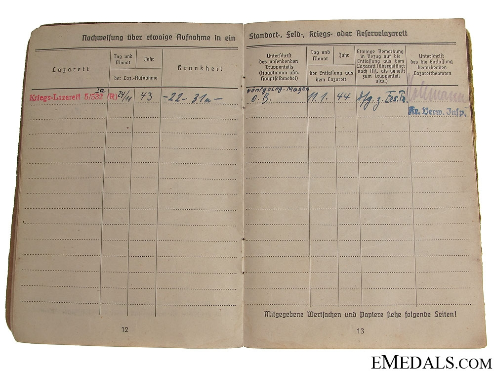 Soldbook to the 553rd Grenadier-Regiment