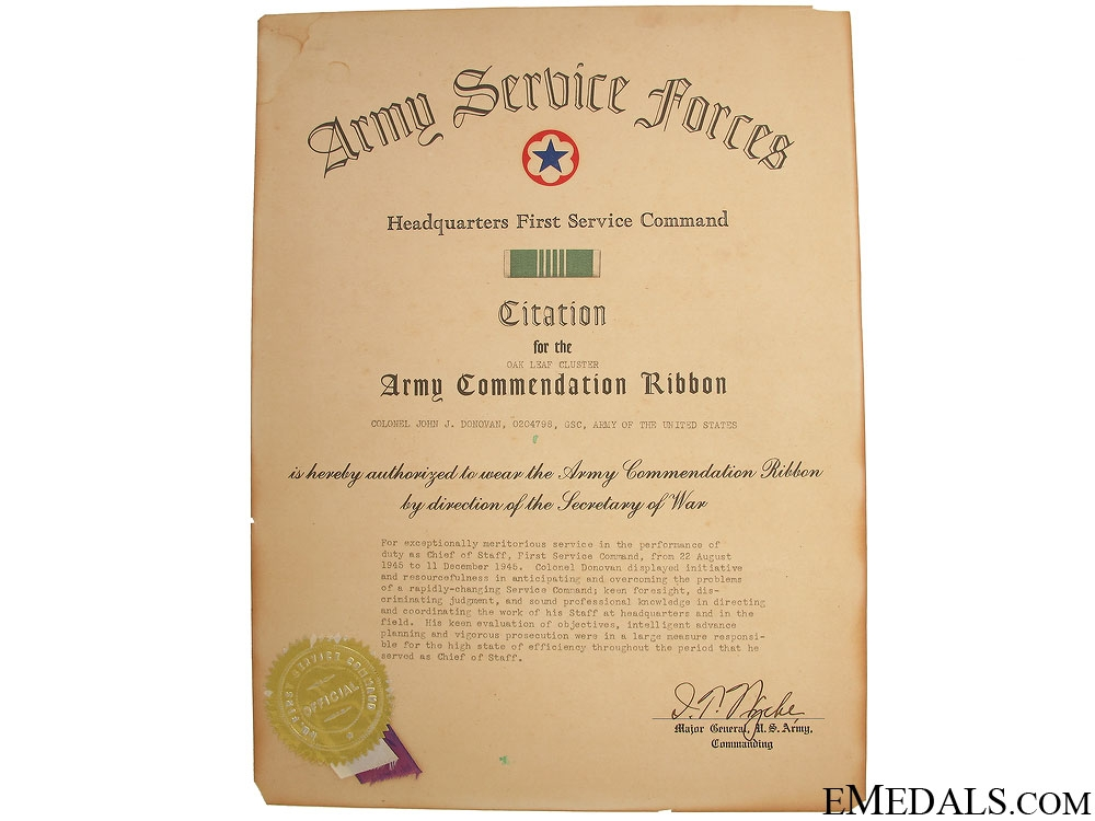 WWII Legion of Merit Group to Major John J. Donovan