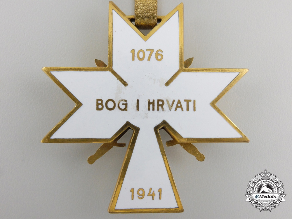 A Croatian Order of King Zvonimir; First Class Cross with Swords