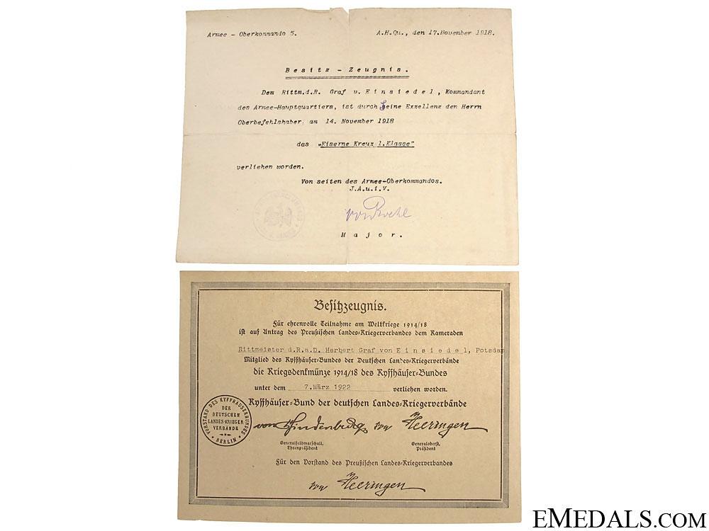 Documents to Oberstleutnant Graf Einsiedel