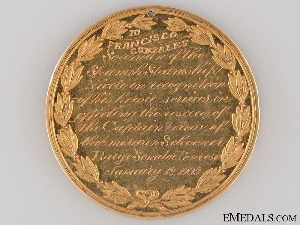 A 1903 Gold Presidential Life Saving Medal