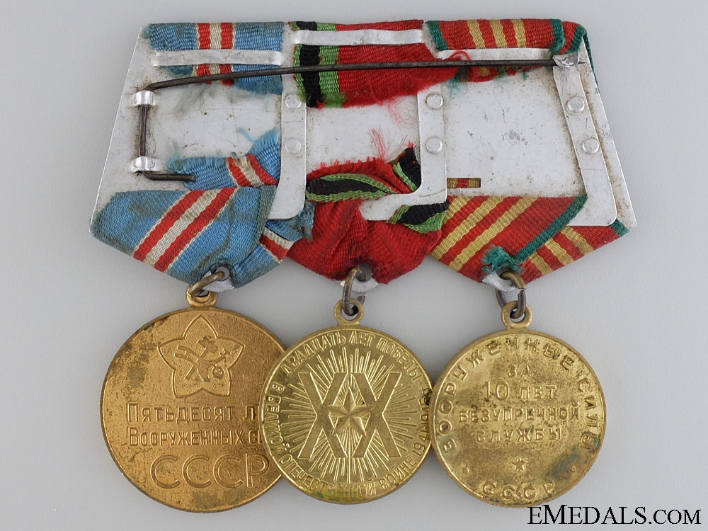 A Soviet Armed Forces Medal Bar with Three Awards