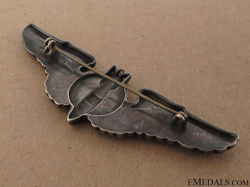 A Sterling Silver WWII Bombardier Wing