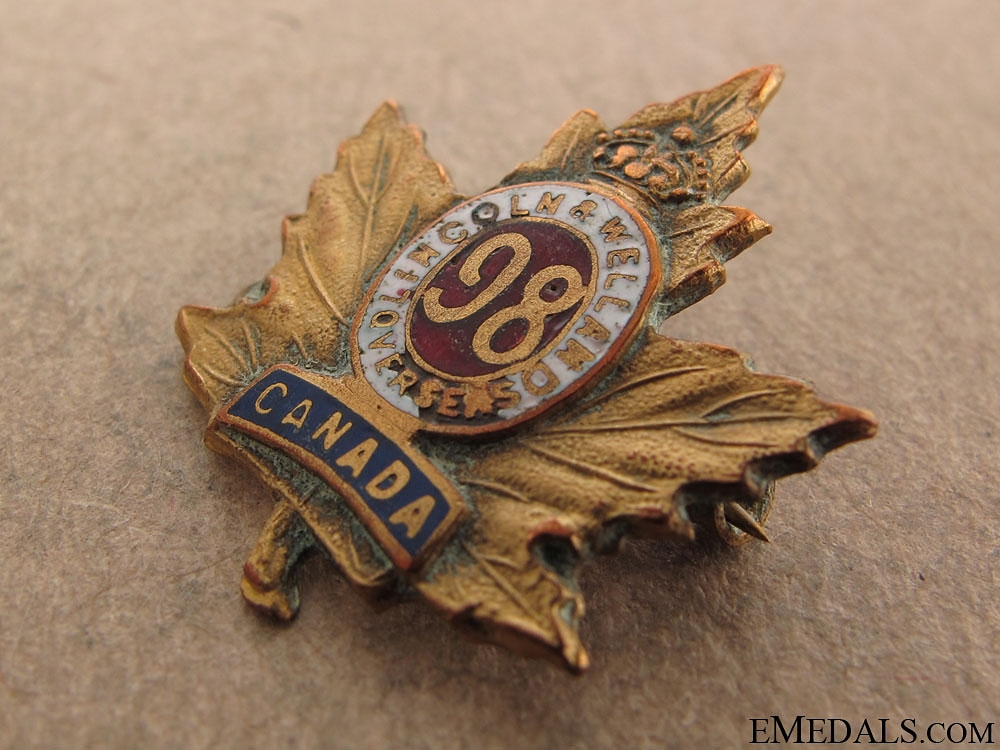 "WWI 98th Infantry Battalion ""Lincoln and Welland Battalion"" Sweetheart Pin"