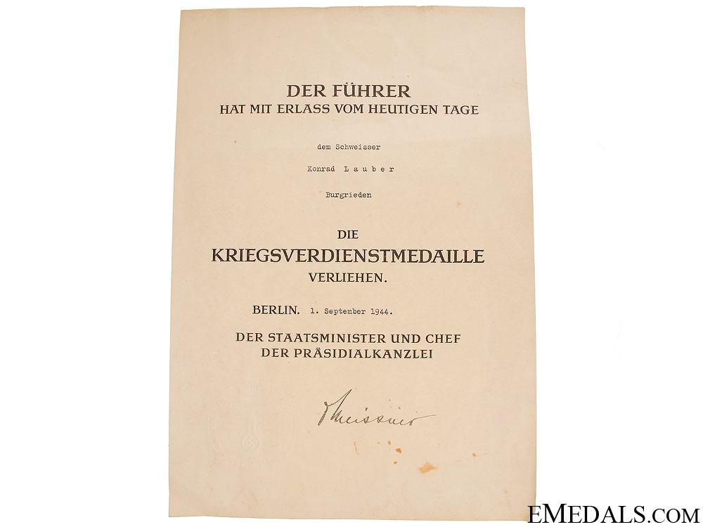 A German Wehrpass, Award Document & Medal
