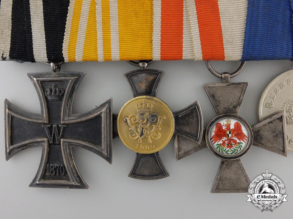 A Franco Prussian War 1870 Iron Cross & Red Eagle Medal Bar