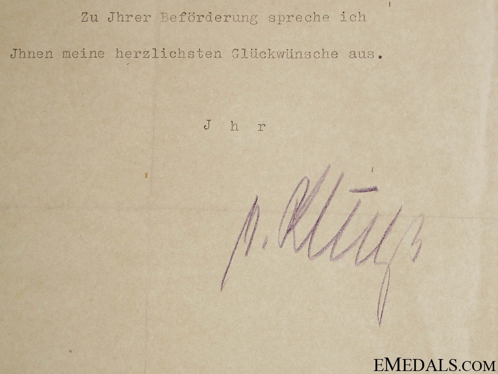 """Field Marshal G¡_nther """"¢�Hans""""¢� von Kluge Signature"""