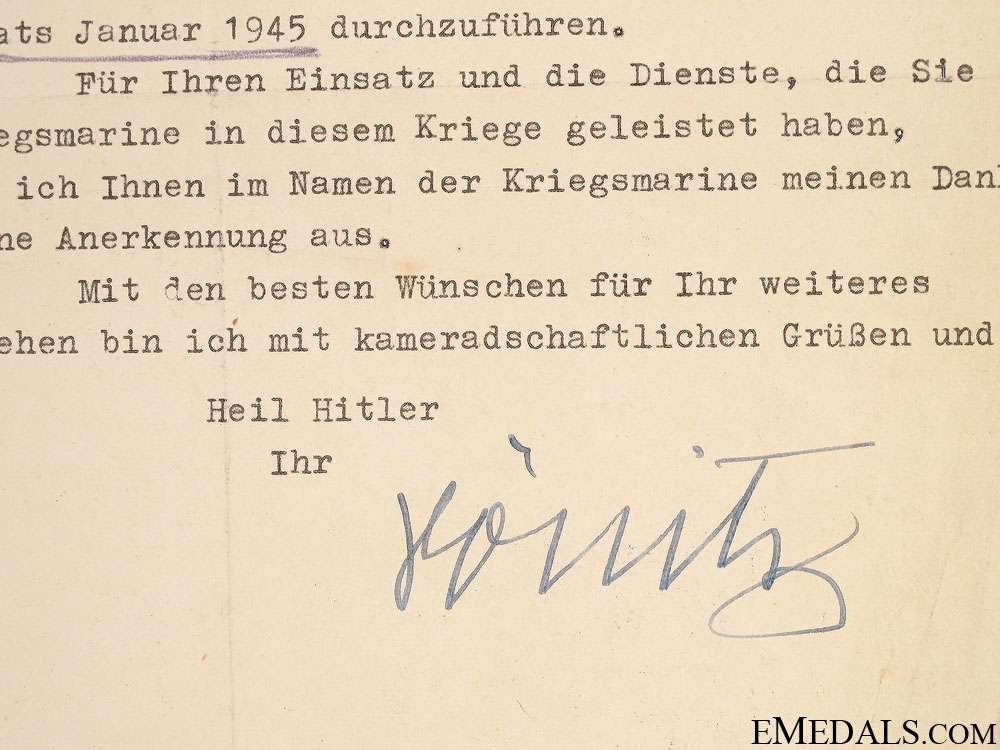 Letter signed by Grand Admiral Karl Dönitz