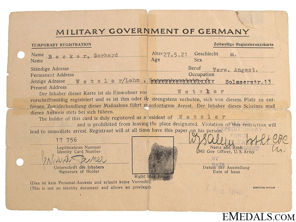 Luftwaffe Paratrooper Badge Document & POW Card